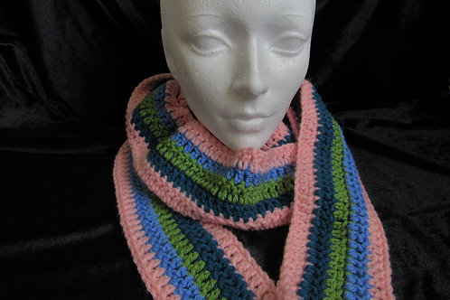 Colorful Long Skinny Scarves (Pink Blue Green) - Linn's Creative Jewelry