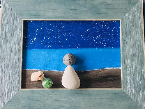 """Starlit night"" 5 x 7 Sea Glass Picture - Nature's Best Rocks"