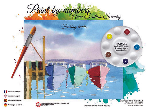 Watercolor Paint by Numbers Kit (Fishing Boats) - Sylvie Boisvert Art