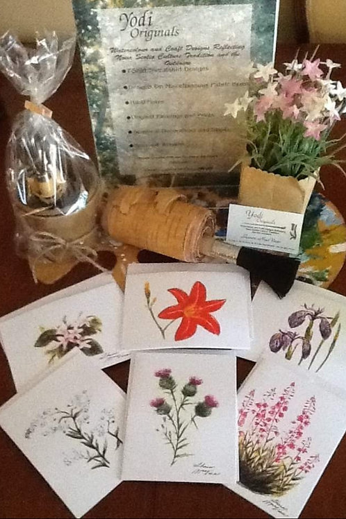 NS Wildflowers 6 pk Hasti Note Cards from original watercolours - Yodi Originals