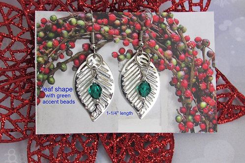 Silver Leaf Festive Earrings - Linn's Creative Jewelry