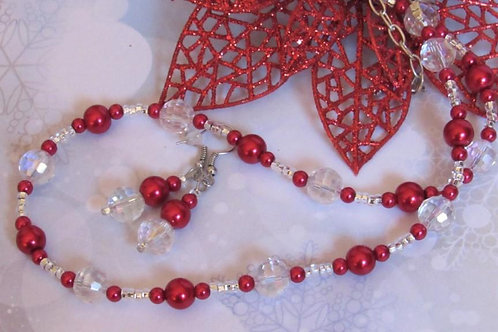 Red Festive Necklace Set - Linn's Creative Jewelry