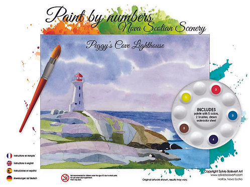 Watercolor Paint by Numbers Kit (Peggy's Cove) - Sylvie Boisvert Art