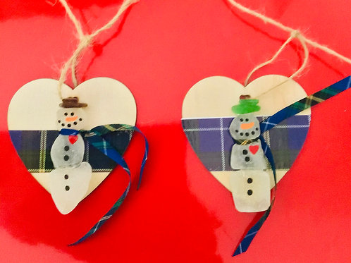 Authentic Sea Glass Snowman Ornament (with heart) - Nature's Bes