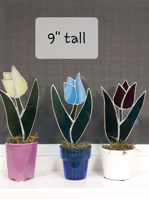 "Stained Glass Single Tulips (9"") (each) - Artisan Window"