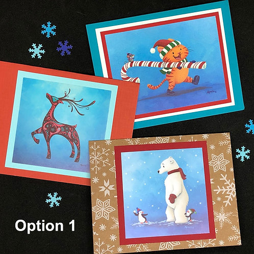 Bundle of 3 Blank Holiday Greeting Card - Myrosia Painting and Pysanky