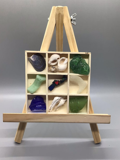 5x7 NS sea glass and NS beach rock picture (tic tac toe) - Nature's Best Rocks