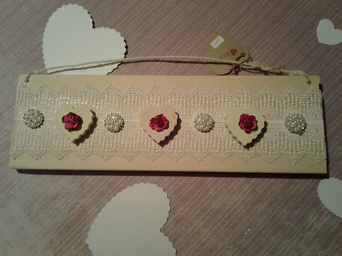 Embellished Wooden Hearts in a Row Sign- Yodi Originals
