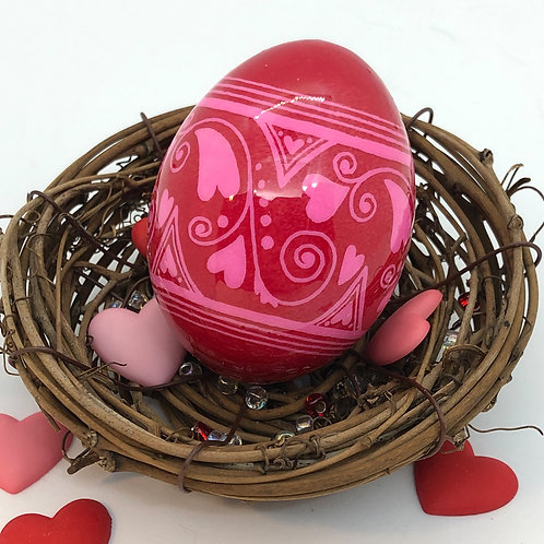 Valentine's Day Pysanka 2 – Red/ Pink Heart Fusion- Myrosia Painting and Pysanky