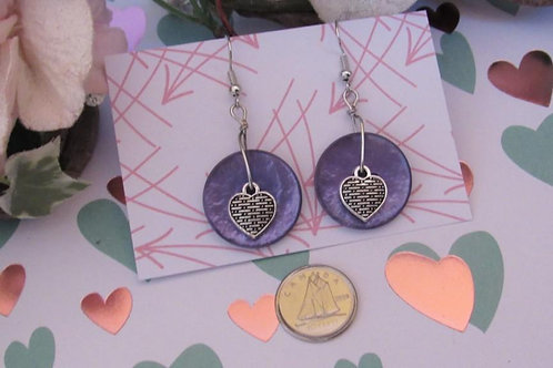 CUTE AS A BUTTON Earrings (Mauve Button Heart)  - Linn's Creative Jewelry