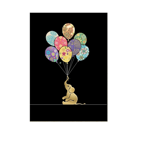 Greeting Card - Blank - ELEPHANT BALLOONS (5″ X 7″) - Elements By Drala