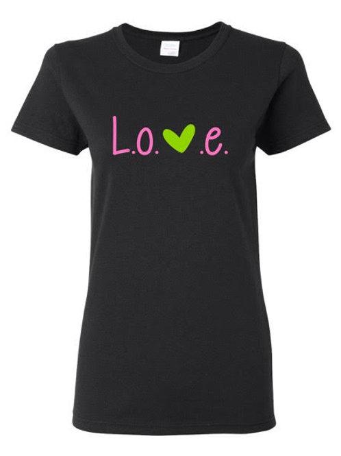 Womens L.O.V.E. Black Gilden, 100% Cotton T-Shirt - Love Organic Vital Energy