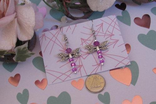 Purple Dragonfly Earrings - Linn's Creative Jewelry