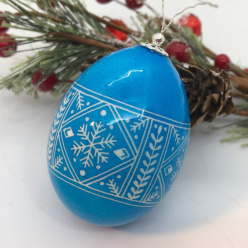 Blue Holiday Pysanka Ornament  - Myrosia Painting and Pysan