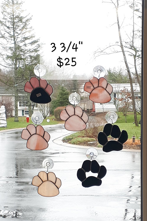 Cat & Dog Paws Handcrafted Stained Glass (ea) - Artisan Window