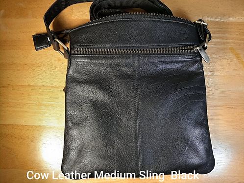 Medium Leather Sling (Black, Cow Leather) - Ox Leather