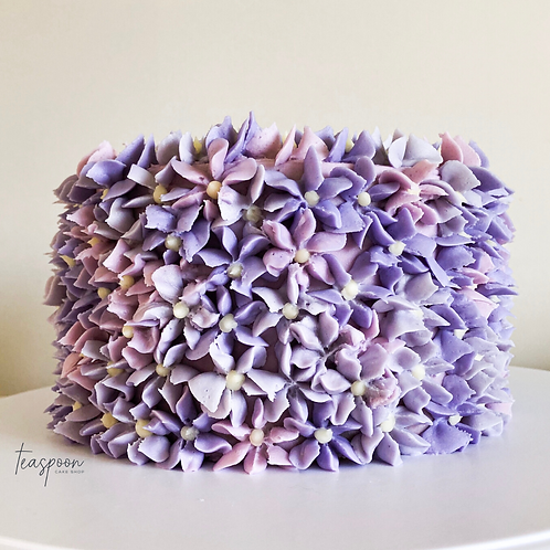 THE CLASSIC - White Cake with Vanilla - Purple Floral - Teaspoon Cake Shop