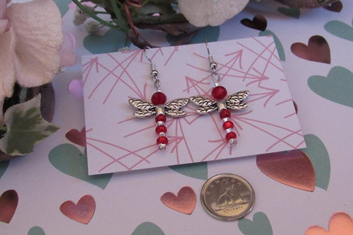 Red Dragonfly Earrings - Linn's Creative Jewelry