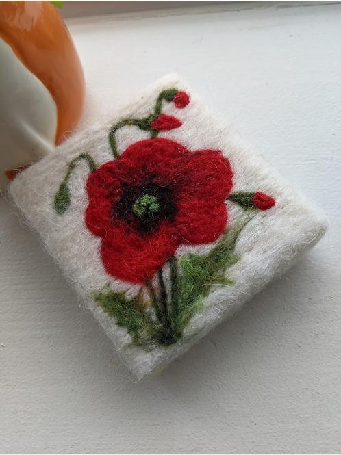 Felted Soap - Poppy Flower - Magic of Wool