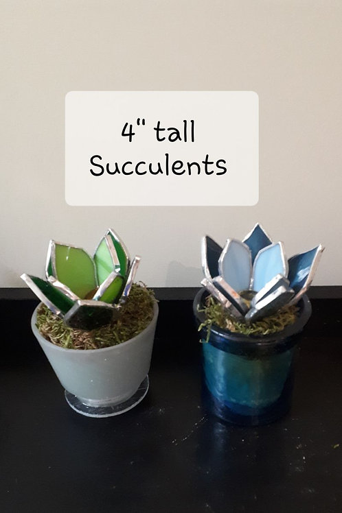 """Stained Glass4"""" Succulent (each) - Artisan Window"""