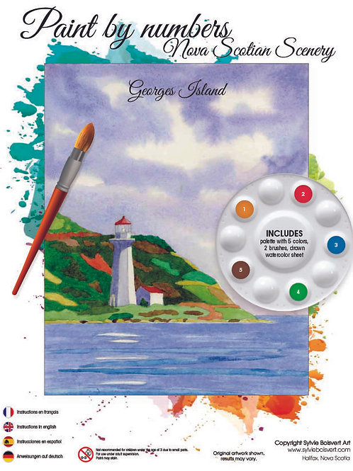 Watercolor Paint by Numbers Kit (George's Island) - Sylvie Boisvert Art