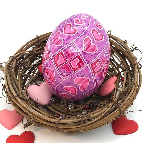 Valentine's Day Pysanka 4 – Heart Swirl on Chicken egg - Myrosia Painting