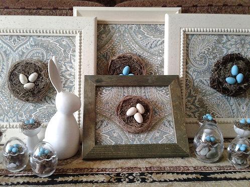 Vintage Framed Robins nests - Yodi Originals