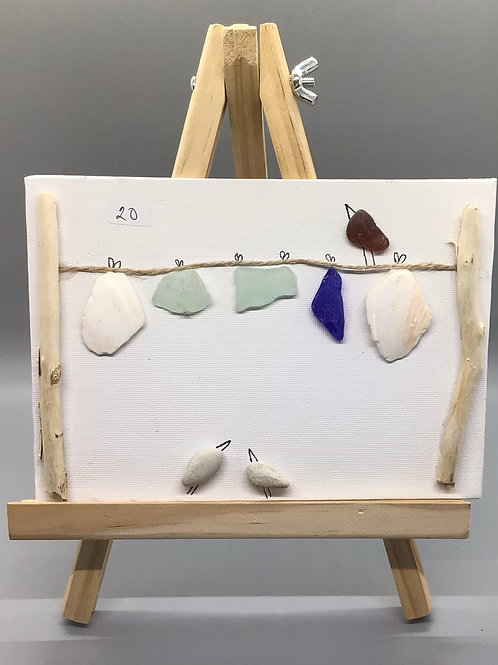 5x7 NS sea glass and NS beach rock picture (line w/ birds) - Nature's Best Rocks