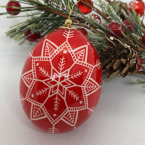 Red Holiday Pysanka Ornament - Myrosia Painting and Pysan