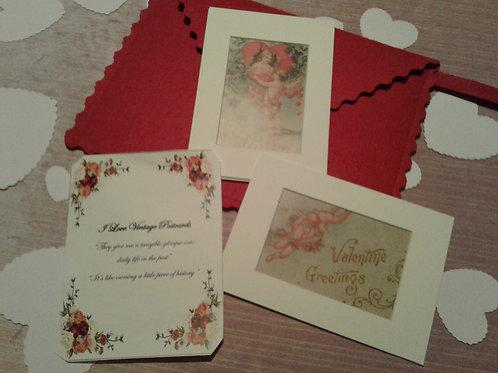 5x7 Matted Vintage Valentine Postcard Reproductions  - Yodi Originals