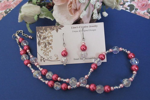 Original Design Pink and Crystal Set - Linn's Creative Jewelry