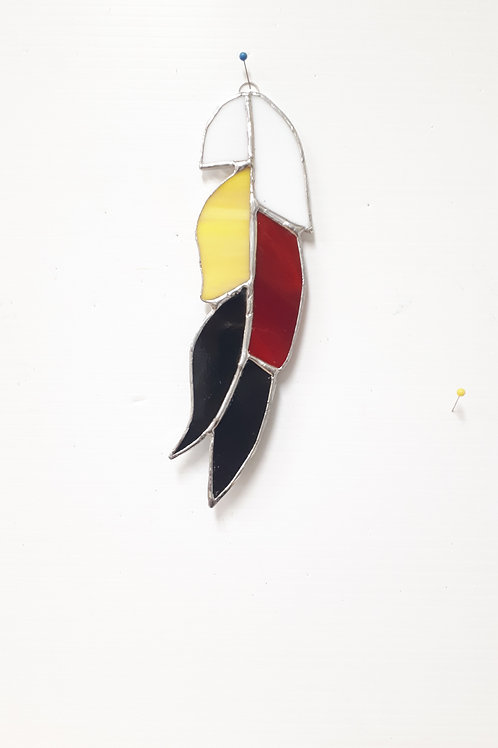Stained Glass Indigenous Feathers - Artisan Window