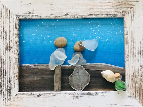 """Bride n Groom"" 5 x 7 Sea Glass Picture - Nature's Best Rocks"