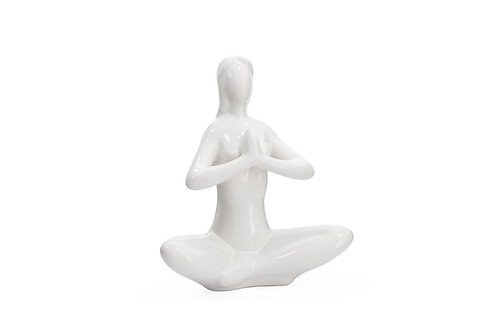Yoga White Ceramic Decor Sculpture (Praying) - Elements By Drala