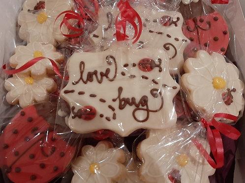 Chocolate Dipped LadyBug Shortbread Cookies (box) - Karyn's Cookies