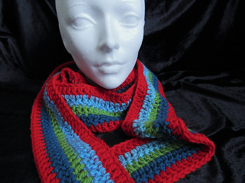 Colorful Long Skinny Scarves (Red Blue Green) - Linn's Creative Jewel