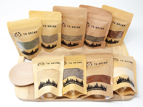 Cook's Pantry Spice Gift Pack with Cutting Board and Wooden Spoon - Axe to Grind