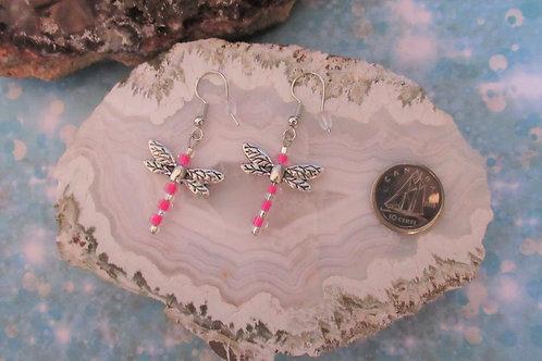 Bright Pink Dragonflies Earrings - Linn's Creative Jewelry