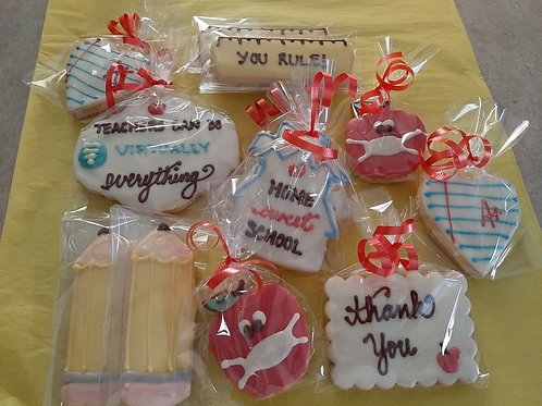 Box of Chocolate Dipped Shortbread (Teacher Themed) - Karyn's Cookies