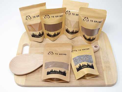 Baker's Spice Gift Pack with Cutting Board and Wooden Spoon - Axe to Grind