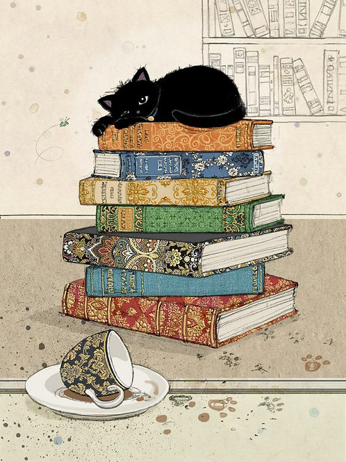 Bug Art Card-Black Inks – Cat on books – Blank (5″ x 7″)- Elements By Drala