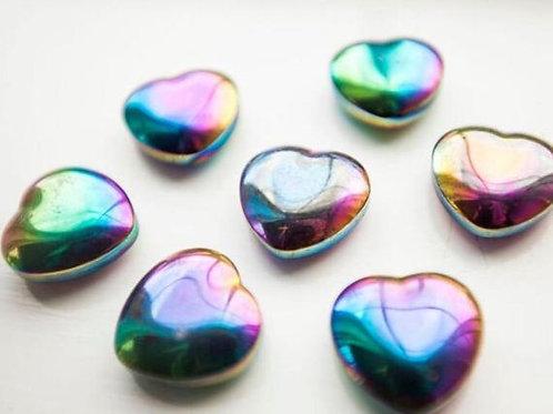 Gemstone Puffed Heart - Rainbow Hematite - Elements By Drala