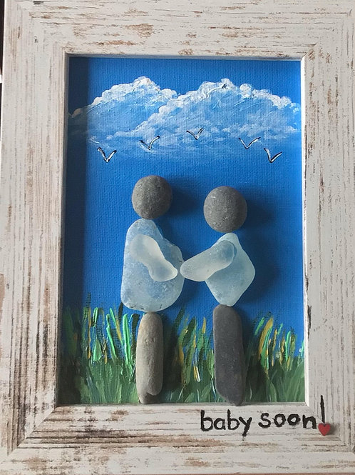 """""""Baby Soon"""" 5 x 7 Sea Glass Picture - Nature's Best Rocks"""