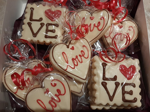 "Chocolate Dipped Decorated ""Love"" Shortbread (box of 12) - Karyn's Cookies and T"