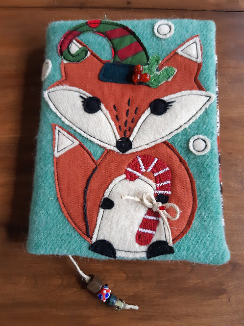 Fox with Candy Cane (Blue) - Journal Cover - Meraki Designs