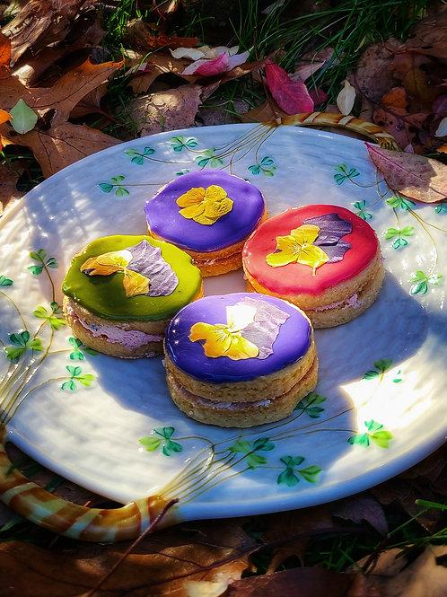 Shortbread Sandwich Cookies w/ Edible Flowers (Box of 6) - Lively Bakery