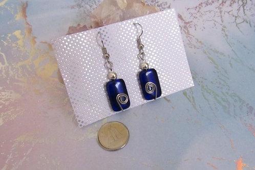Cobalt Blue Wired Earrings - Linn's Creative Jewelry