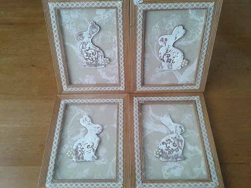 Framed Vintage Victorian Clay Rabbit (5 x 7) - Yodi Originals