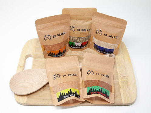 Easy Dinner Spice Blend Gift Pack  w/ Cutting Board and Wood Spoon- Axe to Grind