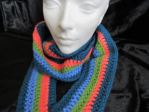 Colorful Long Skinny Scarves (Blue Orange Green) - Linn's Creative Jewelry